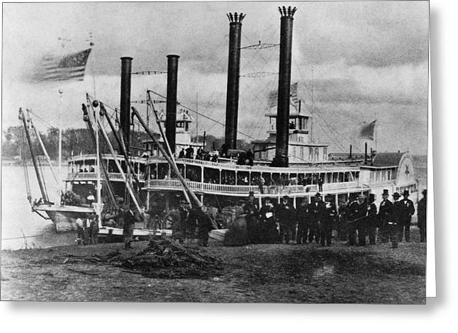 Historic Ship Greeting Cards - 19th Century Steamer Greeting Card by Photo Researchers