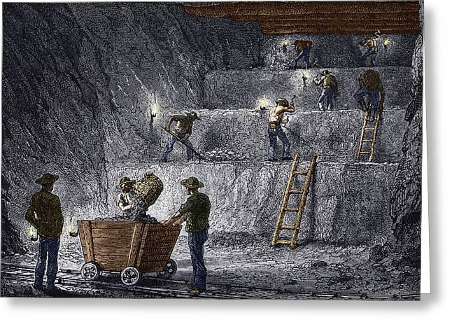 Mines And Miners Greeting Cards - 19th-century Step Mining, Prussia Greeting Card by Sheila Terry