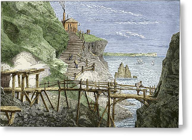 Mines And Miners Greeting Cards - 19th-century Tin Mine, Cornwall Greeting Card by Sheila Terry