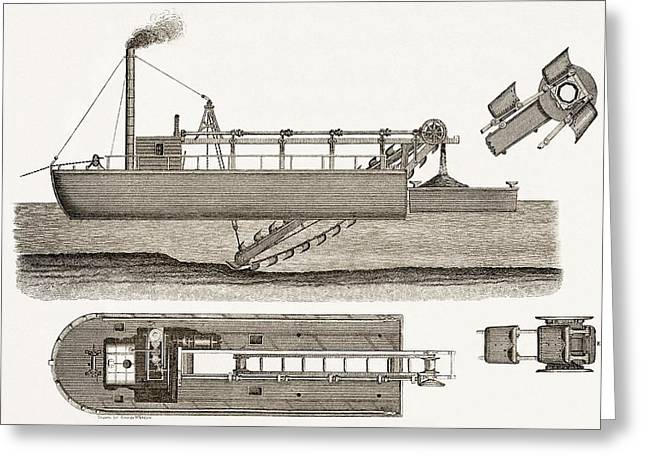 Technical Photographs Greeting Cards - 19th Centurydredging Machine Greeting Card by Sheila Terry