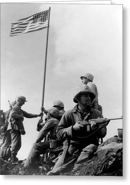 Ww2 Greeting Cards - 1st Flag Raising On Iwo Jima  Greeting Card by War Is Hell Store