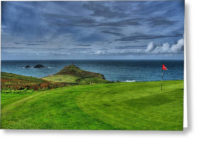 1st green Cape Cornwall Golf Club Greeting Card by Chris Thaxter