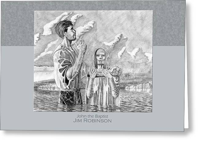 Rocks Drawings Greeting Cards - 003 John the Baptist Greeting Card by James Robinson