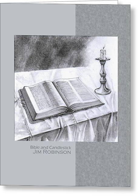Table Cloth Drawings Greeting Cards - 174 Bible and Candlestick Greeting Card by James Robinson
