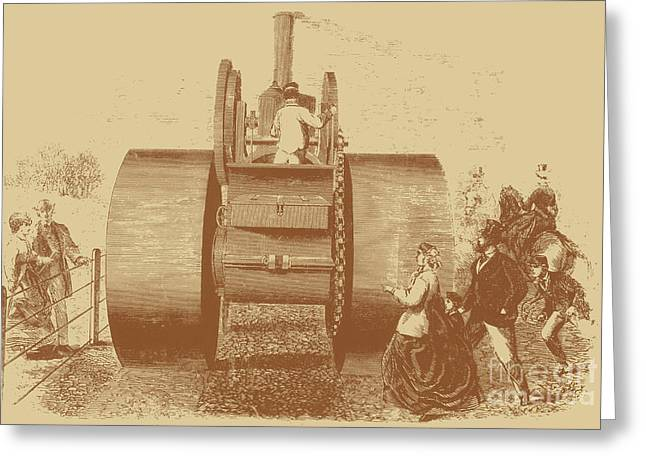 1866 Steam Road Roller Greeting Card by Science Source