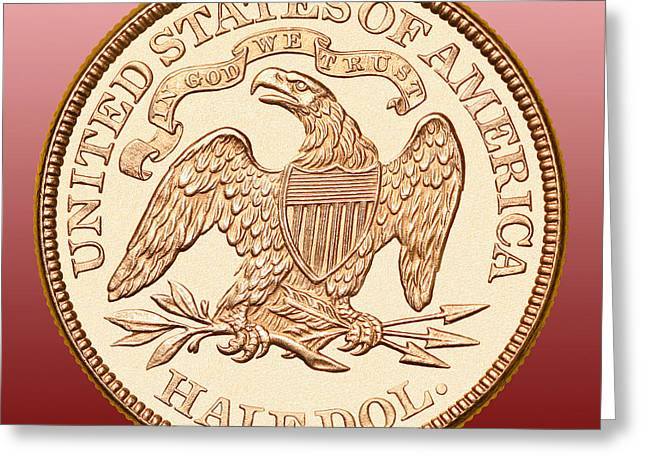 Coin Pictures Greeting Cards - 1870 Liberty Seated Half Dollar Greeting Card by Jim Carrell