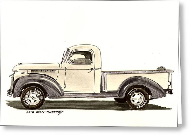 40s Paintings Greeting Cards - 1946 Chevrolet Pick Up Greeting Card by Jack Pumphrey