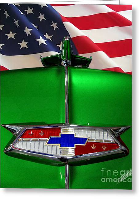Whit Greeting Cards - 1954 Chevrolet hood emblem Greeting Card by Peter Piatt