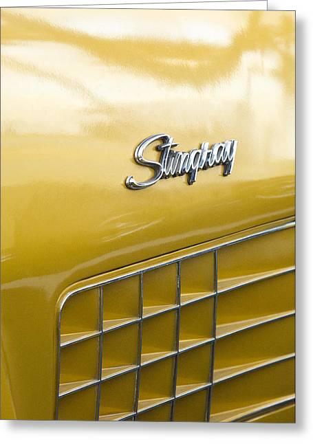 Famous Photographer Greeting Cards - 1972 Chevrolet Corvette Stingray Emblem Greeting Card by Jill Reger