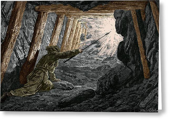 Working Conditions Greeting Cards - 19th-century Coal Mining Greeting Card by Sheila Terry