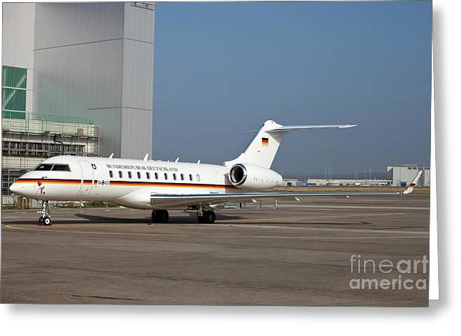 Private Jet Greeting Cards - A Bombardier Global 5000 Vip Jet Greeting Card by Timm Ziegenthaler
