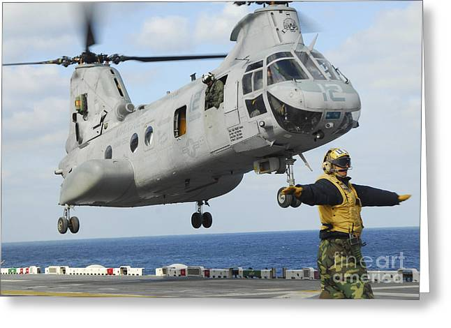 Humanitarian Greeting Cards - A Ch-46e Sea Knight Helicopter Takes Greeting Card by Stocktrek Images