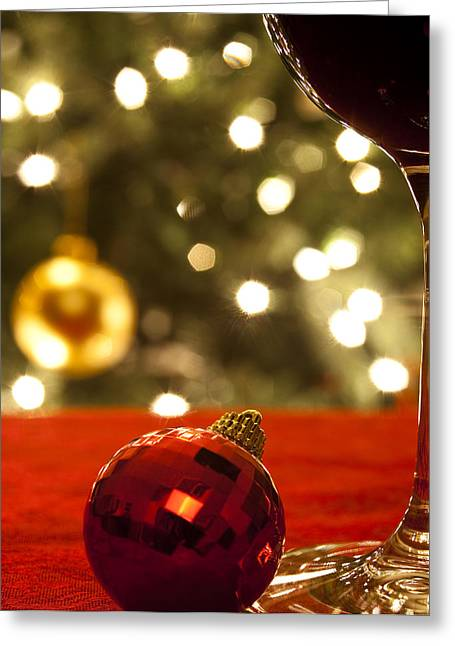 Christmas Card Photographs Greeting Cards - A Drink by the Tree Greeting Card by Andrew Soundarajan