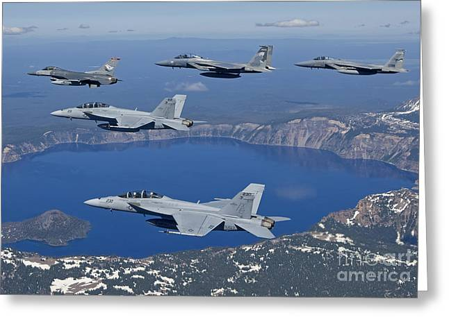 Cooperation Greeting Cards - A Five Ship Aircraft Formation Flies Greeting Card by HIGH-G Productions