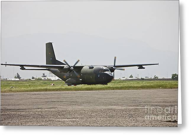 Taxiing Greeting Cards - A German Air Force Transall C-160 Taxis Greeting Card by Terry Moore