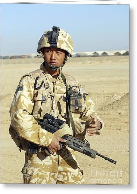 Brigade Greeting Cards - A Gurkha Commander Communicates Greeting Card by Andrew Chittock