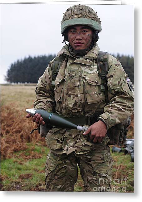 Brigade Greeting Cards - A Gurkha Soldier Holding A 81mm Greeting Card by Andrew Chittock