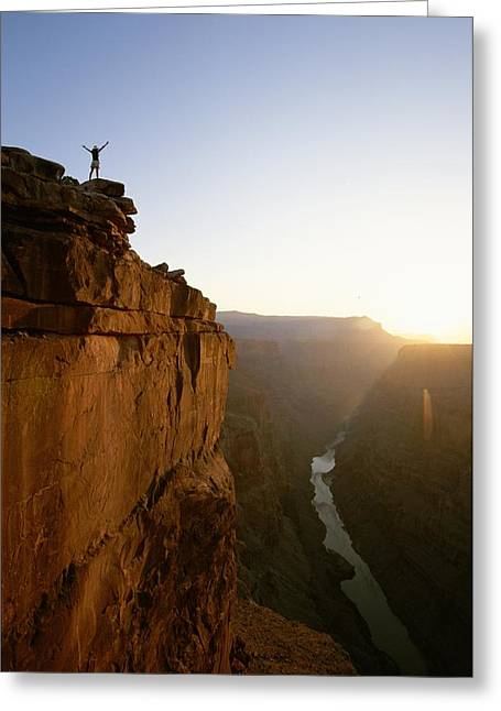 Grand Gestures Greeting Cards - A Hiker Surveys The Grand Canyon Greeting Card by John Burcham