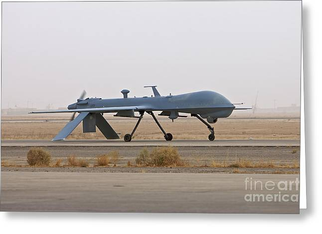 Taxiway Greeting Cards - A Mq-1 Predator Unmanned Aerial Vehicle Greeting Card by Terry Moore