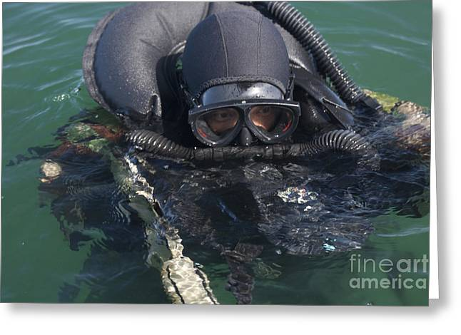 Diving Suit Greeting Cards - A Navy Seal Combat Swimmer Greeting Card by Michael Wood