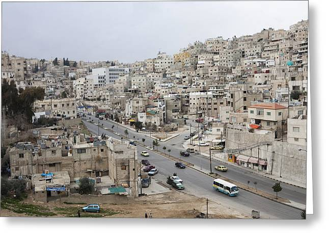 A Street Scene In Amman, Jordan Greeting Card by Taylor S. Kennedy