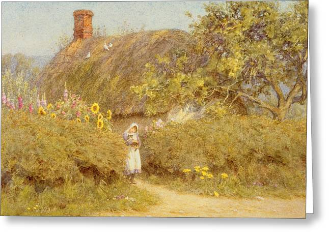 Foxglove Flowers Paintings Greeting Cards - A Surrey cottage Greeting Card by Helen Allingham