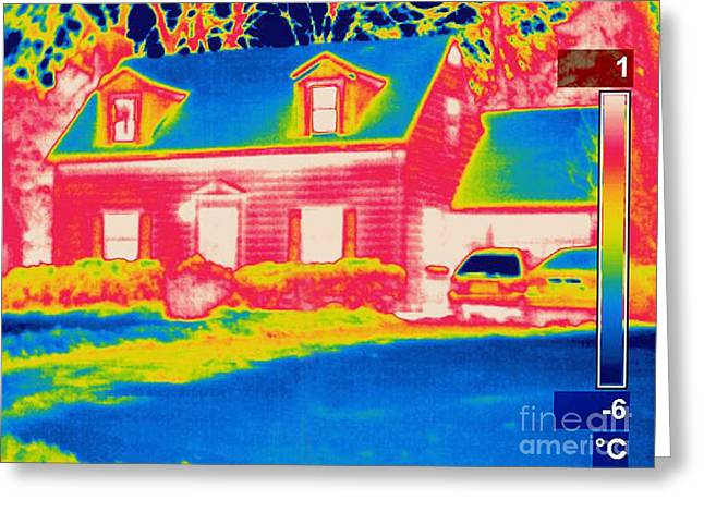 Temperature Greeting Cards - A Thermogram Of A Home In Winter Greeting Card by Ted Kinsman