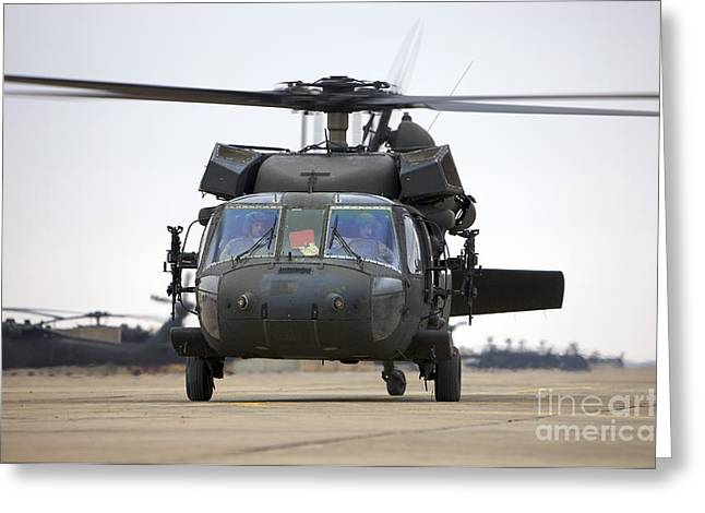 Copy Machine Greeting Cards - A Uh-60 Black Hawk Taxis Greeting Card by Terry Moore