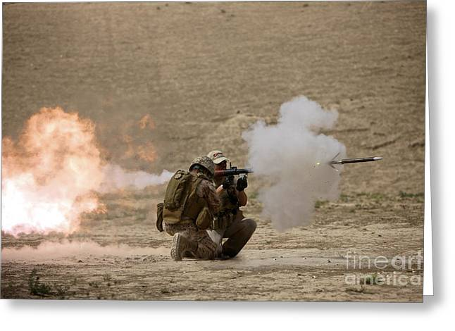Fragmentation Greeting Cards - A U.s. Contractor Fires Greeting Card by Terry Moore