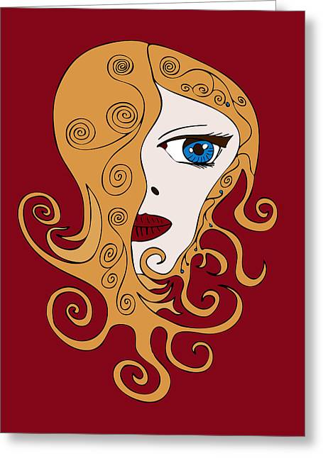 Girl Face Greeting Cards - A Woman Greeting Card by Frank Tschakert