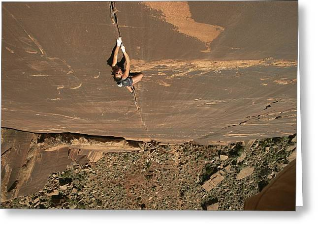 Sporting Goods Greeting Cards - A Young Woman Climbing In Canyonlands Greeting Card by Jimmy Chin