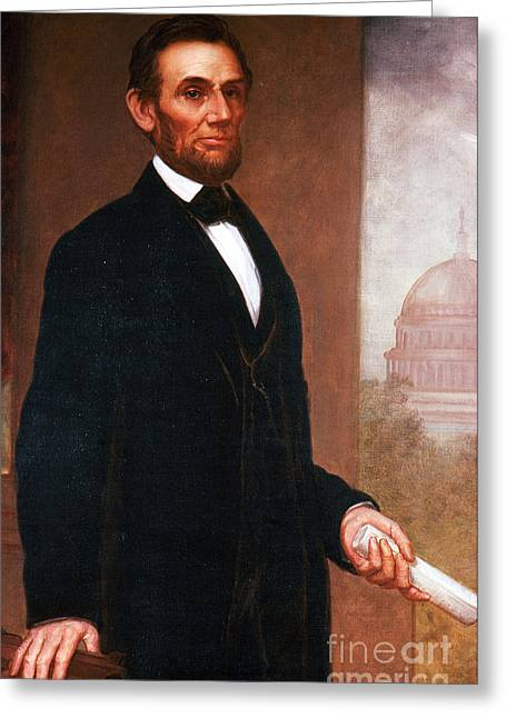 15th Amendment Greeting Cards - Abraham Lincoln, 16th American President Greeting Card by Photo Researchers