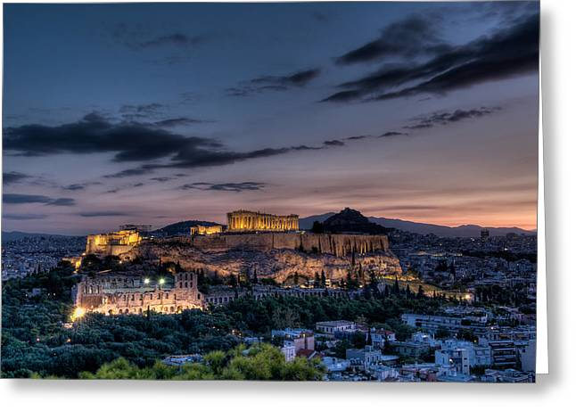 Acropolis Photographs Greeting Cards - Acropolis at Dawn Greeting Card by Michael Avory