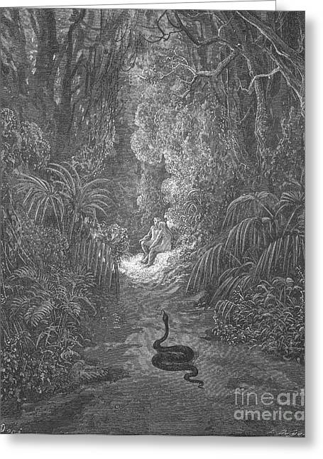 Snakes In Art Greeting Cards - Adam And Eve And Snake By Dore Greeting Card by Photo Researchers