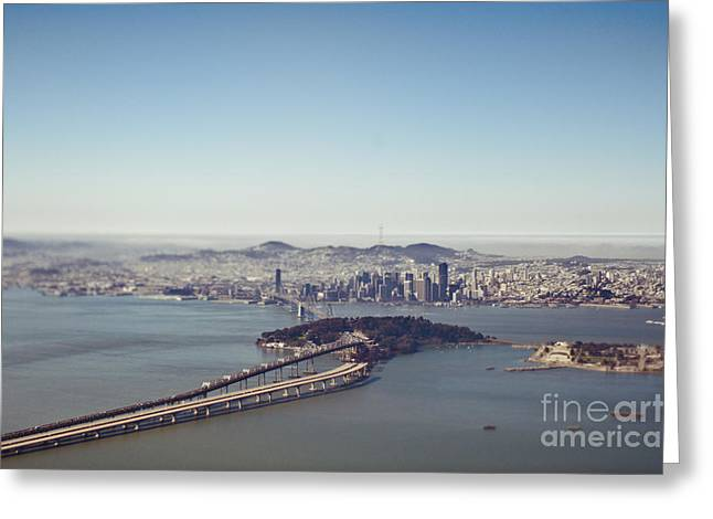 Downtown San Francisco Greeting Cards - Aerial View of San Francisco Bay Greeting Card by Eddy Joaquim