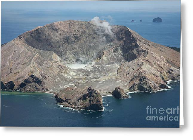 White Face Mountain Greeting Cards - Aerial View Of White Island Volcano Greeting Card by Richard Roscoe