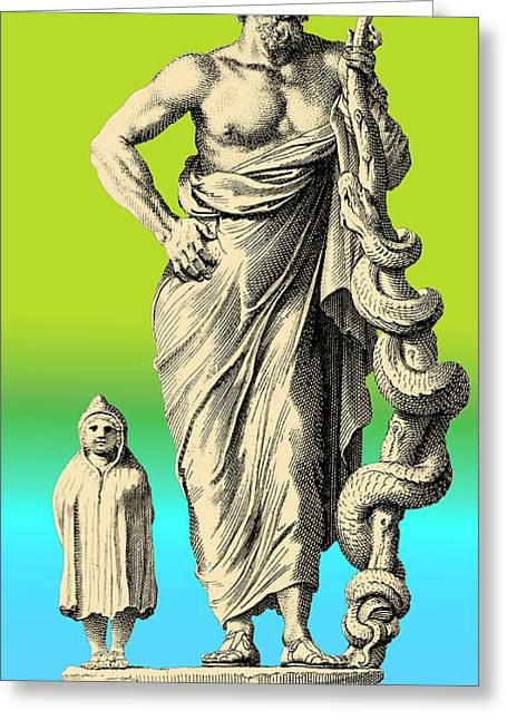 Art And Healing Greeting Cards - Aesculapius, Greek God Of Medicine Greeting Card by Science Source