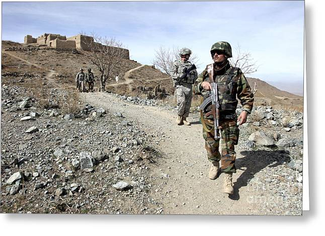 Logar Greeting Cards - Afghan National Army And U.s. Soldiers Greeting Card by Stocktrek Images
