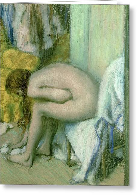 Rubbing Greeting Cards - After the Bath Greeting Card by Edgar Degas