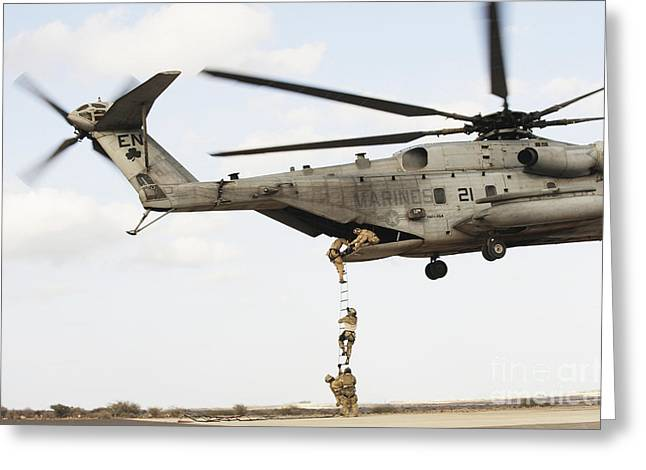 Hovering Greeting Cards - Air Force Pararescuemen Conduct Greeting Card by Stocktrek Images