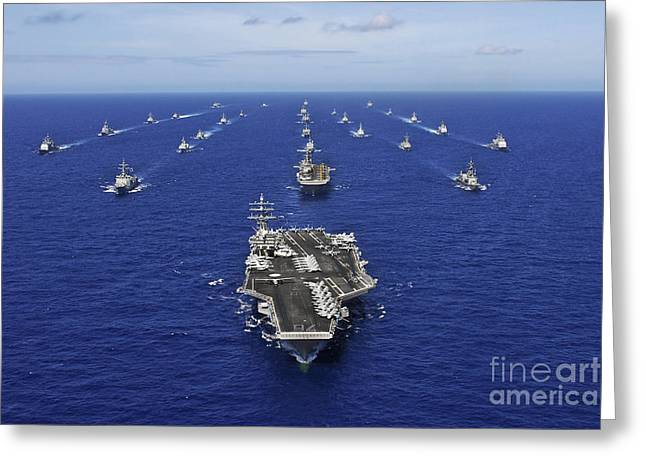 Deployment Greeting Cards - Aircraft Carrier Uss Ronald Reagan Greeting Card by Stocktrek Images