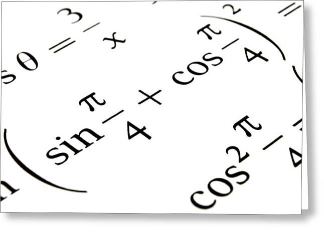 Calculation Greeting Cards - Algebra formulas close up. Greeting Card by Fernando Barozza