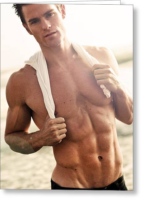 Model On Beach Greeting Cards - Allen Greeting Card by Invicta