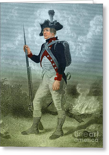 Chappel Greeting Cards - American Continental Soldier Greeting Card by Photo Researchers