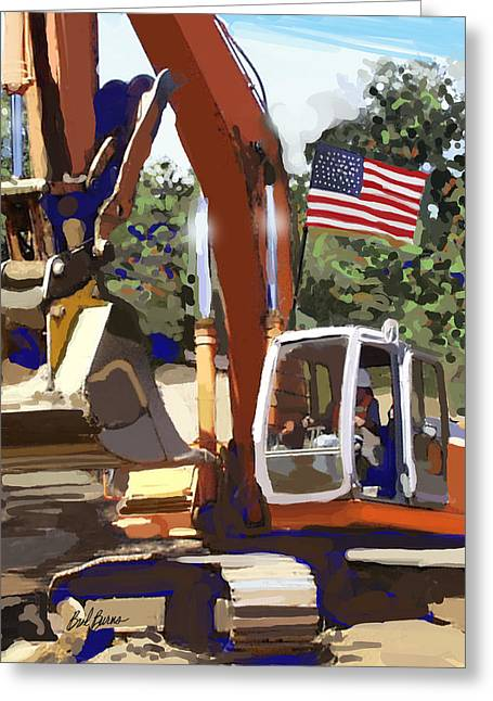 Bulldozer Greeting Cards - American Tractor Greeting Card by Brad Burns