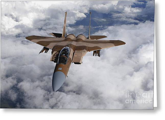 Aggressor Greeting Cards - An F-15c Aggressor Flies Greeting Card by Stocktrek Images