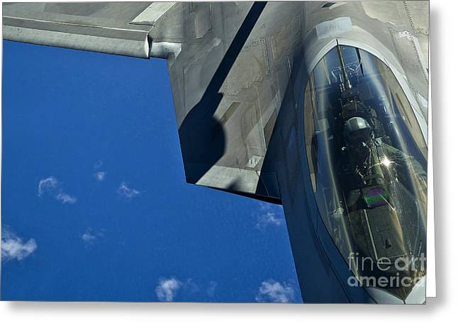 An F-22 Raptor In Flight Greeting Card by Stocktrek Images