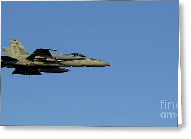 Cooperation Greeting Cards - An Fa-18c Hornet In Flight Greeting Card by Stocktrek Images