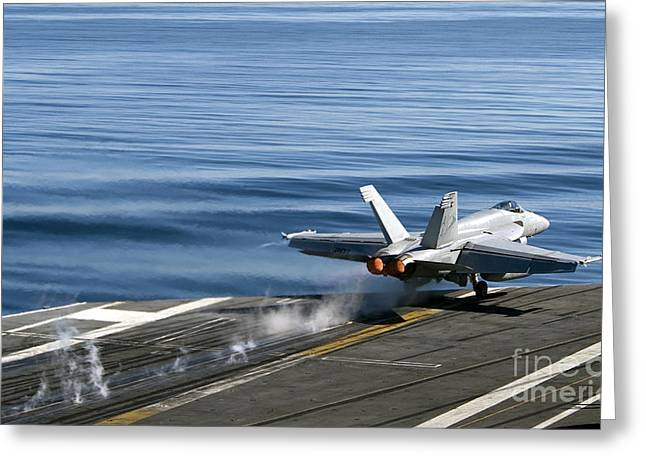 F-18 Hornet Greeting Cards - An Fa-18e Super Hornet Launches Greeting Card by Stocktrek Images