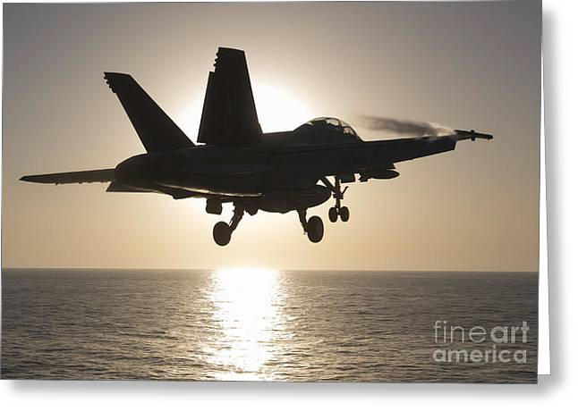 F-18 Greeting Cards - An Fa-18f Super Hornet Takes Greeting Card by Gert Kromhout